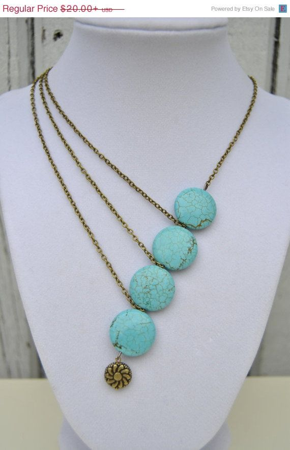 20% OFF SALE Asymmetrical Turquoise Stone and Chain Necklace - Statement Necklace, Asymmetrical Necklace, Bold Necklace, Gifts Under 20