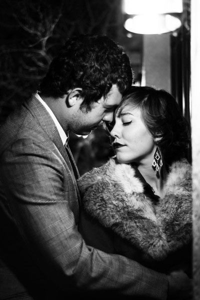 1940's Film Noir Engagement Photos via Storyboard Wedding | Photograph by Zee Anna Photography http://www.storyboardwedding.com/1940s-black-and-white-film-noir-engagement-photos/