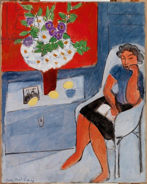 Henry Matisse - Woman Seated near a Chest with Flowers, 1939 (oil on canvas)