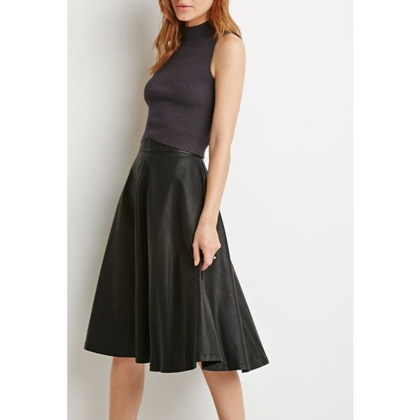 Love 21 Faux Leather A-Line Skirt (€27) via Polyvore featuring skirts, women skirts, love 21, knee length a line skirt, black faux leather skirt e imitation leather skirt
