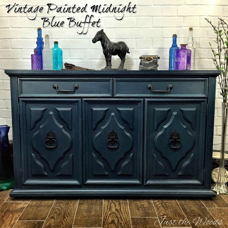 Vintage Painted Blue Buffet   Two Makeovers From One Cabinet