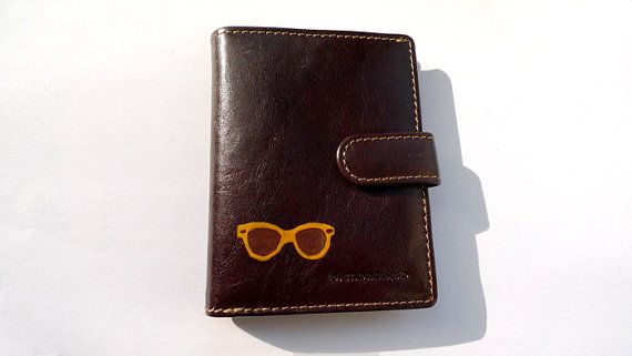 Personalized small brown leather wallet - hand painted - space for cards coinsnotes - hipster - Christmas gift for him by ArtyBeezzz