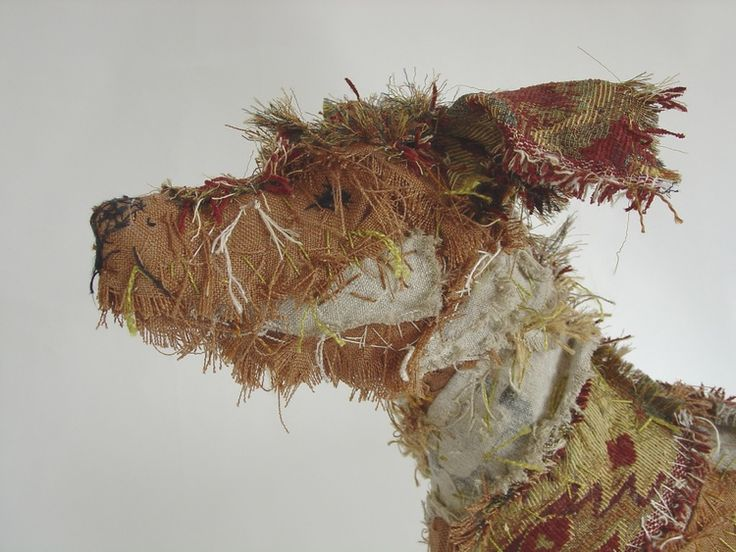 Rufus dog textile sculpture by Barbara Franc