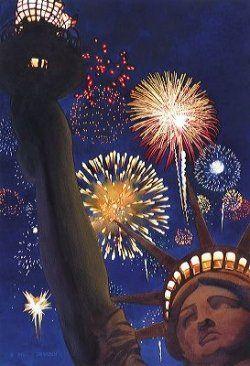 Fireworks above Lady Liberty!