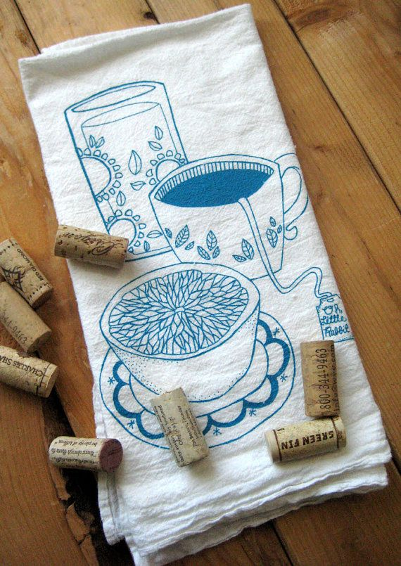 tea towel - screen printed organic cotton Breakfast Flour Sack Towel - soft and absorbent dish towel, $8