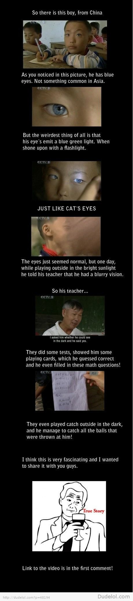blue eyed Chinese boy who can see in the dark. (xmen first class?)