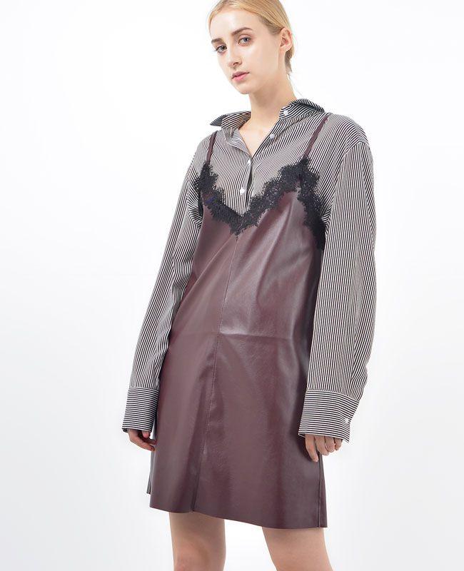 Greta Stretch-Faux leather Bustier dress │ Shop trendy leather & fur clothing at bosroom.com #leatherdress #vibes #bustier #leatherbustier #lace #burgundy #burgundydress