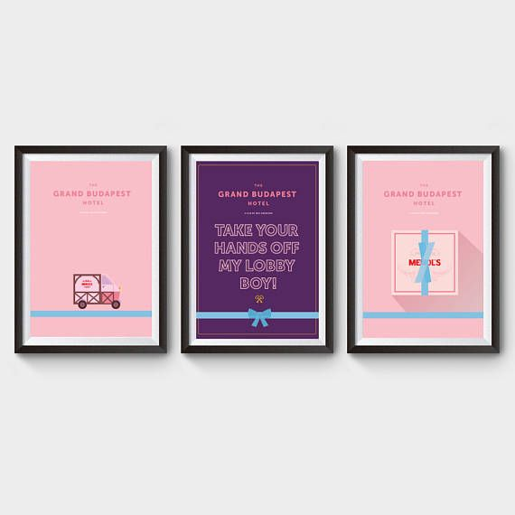Le Grand Budapest Hotel Collection x 3 tirages - affiche de film, art, film loster, lobby boy, affiche poster film minimaliste, wes anderson
