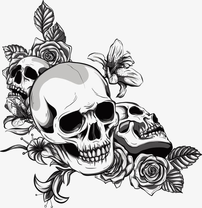 Vetor caveiras e Flores pintadas à mão, Desenho De Caveira, Flores, SkullPNG e Vector