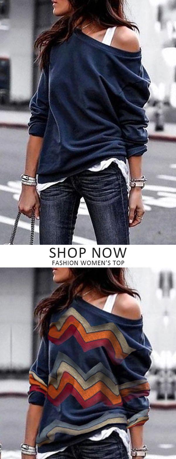 T-shirt à manches longues décontracté One Shouder   – Style