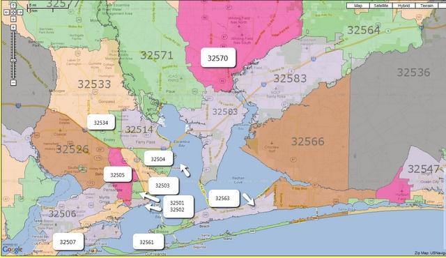 Pensacola Zip Code Map My Blog