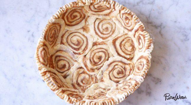 Cinnamon-Roll Pie Crust  -  prepared packaged pie crust, butter, brown sugar, cinnamon, vanilla.  good idea, great for christmas, thanksgiving, holidays, parties.   lj