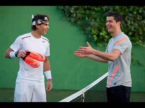 Rafa having fun with football (aka soccer) star Cristiano Ronaldo :)