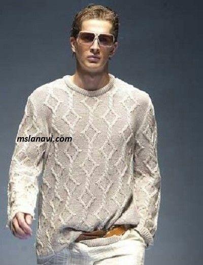 Мужской пуловер с ромбами - СХЕМА http://mslanavi.com/2017/03/muzhskoj-pulover-s-rombami/