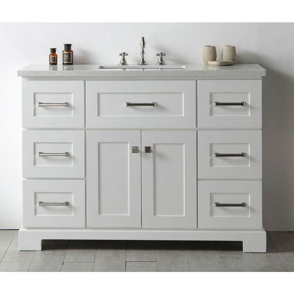 Legion Quartz Top White 48 Inch Single Bathroom Vanity