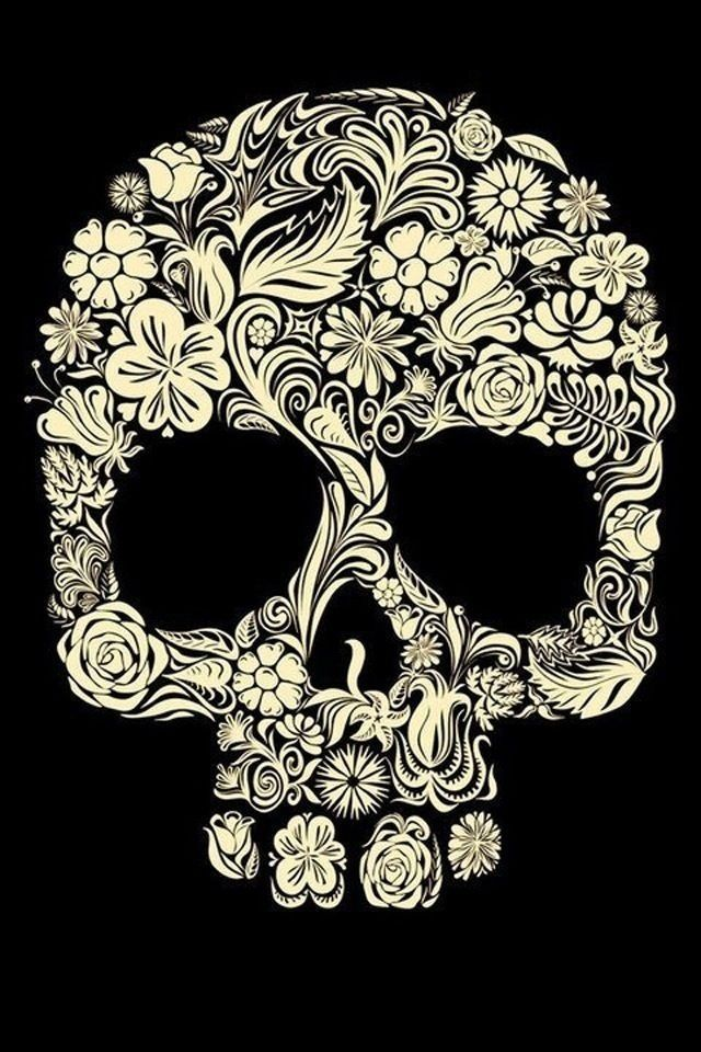Floral skull wallpaper for iPhone