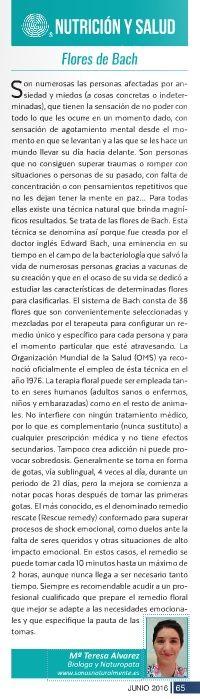 Columna sobre Flores de Bach en la revista La Publi de la Axarquía