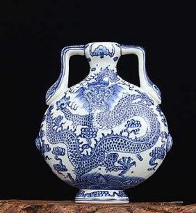 Chinese Blue And White Dragon Moonflask