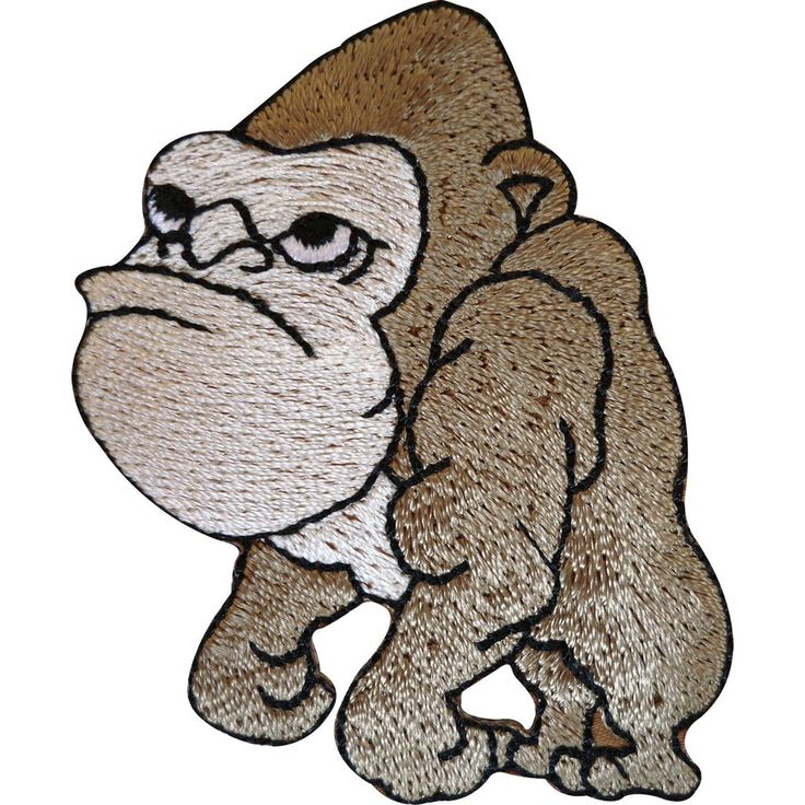 Embroidered Gorilla Iron On Badge Sew On Patch Monkey Ape Embroidery Applique