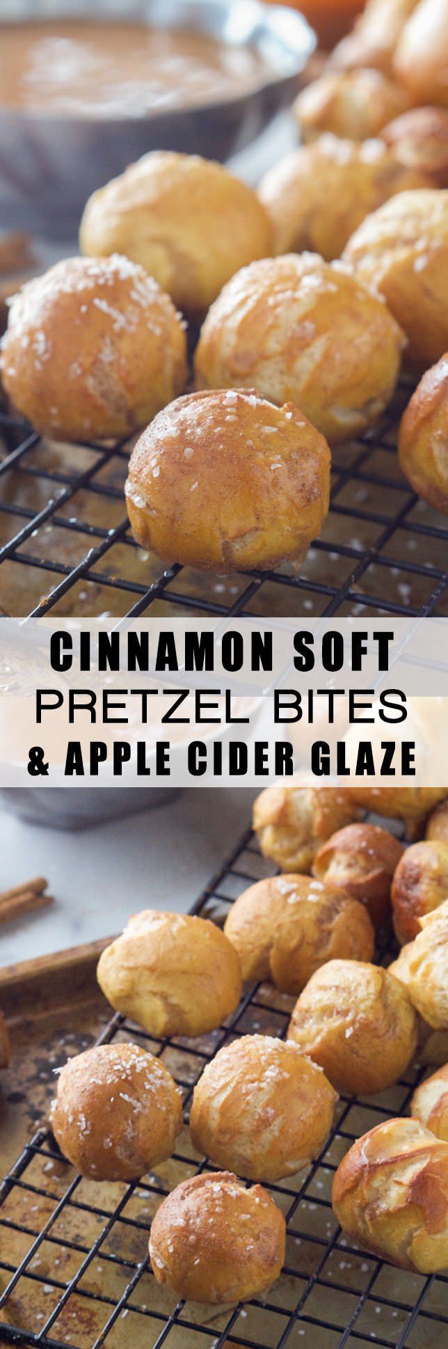 Homemade and easy Cinnamon Soft Pretzel Bites get a fall makeover! Loaded with cinnamon and coated in a light apple cider glaze!