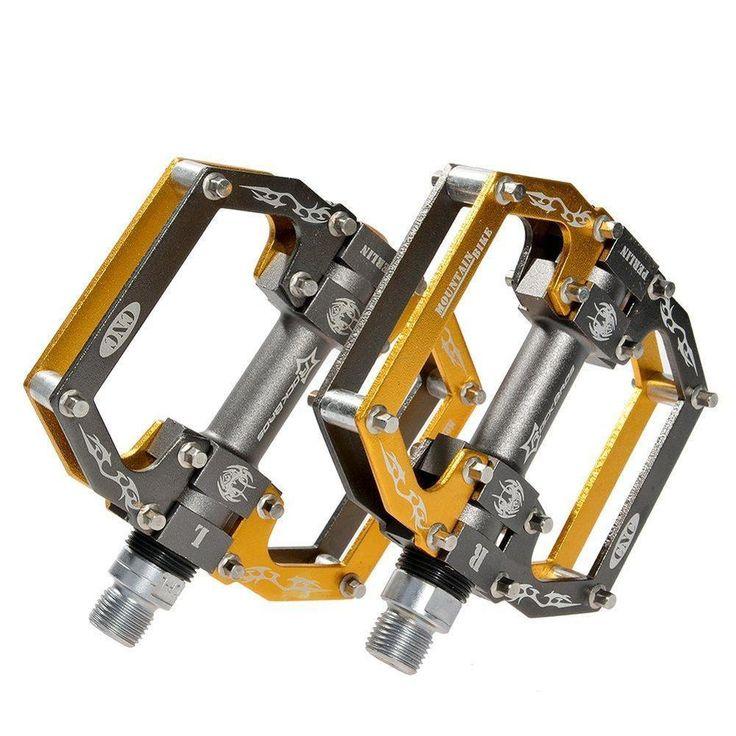 Gold RockBros MTB Mountain Bike Pedals Flat Platform Sealed Bearing Axle 9/16