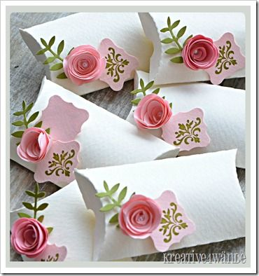 Pillow box with 3D roses. Very cute, love the simple white