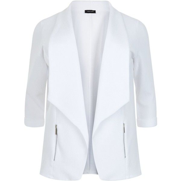 New Look Curves White Zip Pocket Blazer (£23) ❤ liked on Polyvore featuring outerwear, jackets, blazers, white, plus size white jacket, plus size blazers, white blazer jacket, plus size blazer jacket and white jacket