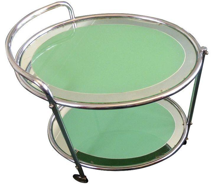 chrome furniture. art deco oval mirror trolley chrome furniture