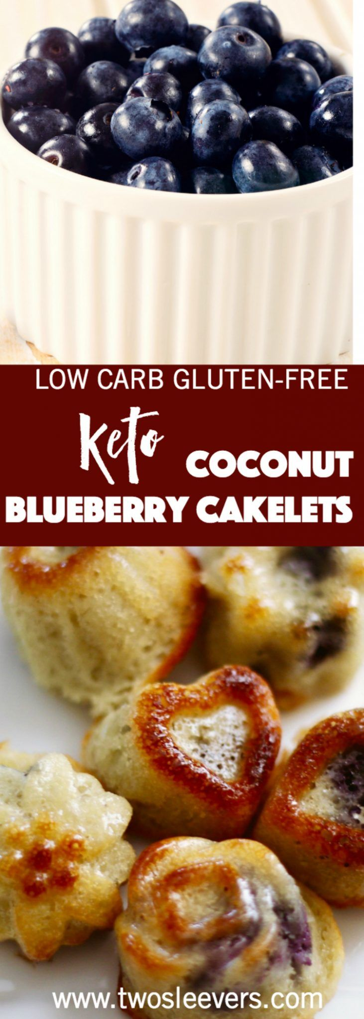 Keto Almond Coconut Blueberry Cakelets, Keto Almond Coconut Blueberry cakelets are gluten-free and low carb, but full of real cake flavor. Whip up a batch in just a few minutes.  Two Sleevers