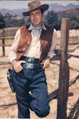 THE RESTLESS GUN (NBC-TV) - John Payne portrays drifter 'Vint Bonner' who reluctantly uses his gun when necessary - Based on NBC Radio series, 'The Six Shooter' starring James Stewart - MCA - Publicity Still.
