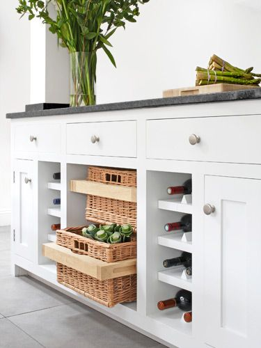 Pull out open shelves in kitchen... keeping in case I ever decide to move my island microwave! from WomansDay.com