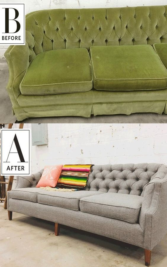 This 1970s pea green sofa was certainly lovely in its time, but the velvet was worn and stained and its skirt wasn't doing it any favors. it had potential with its deep tufting, gentle curves and solid wood frame. It's a satisfying feeling to update a vintage piece with a history all its own so it will continue to live well and in style for many years to come.