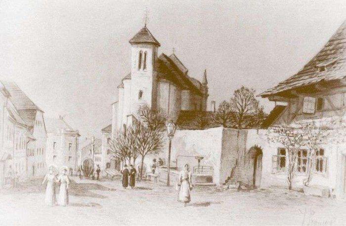 Riegrova ulice, dnešní ul. 5. května, kresba J. Prouska kolem r. 1870