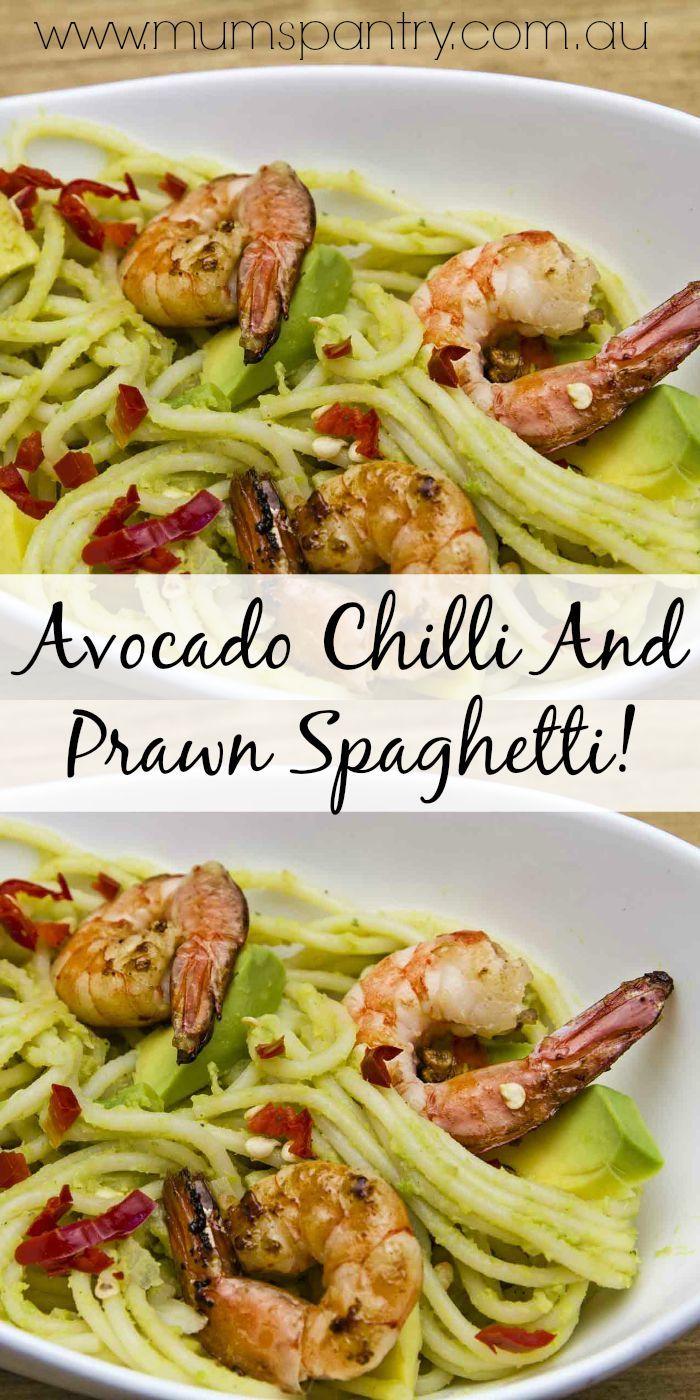 avocado chilli and prawn spaghetti