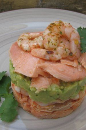 Baked salmon, prawn, avo and salsa stack