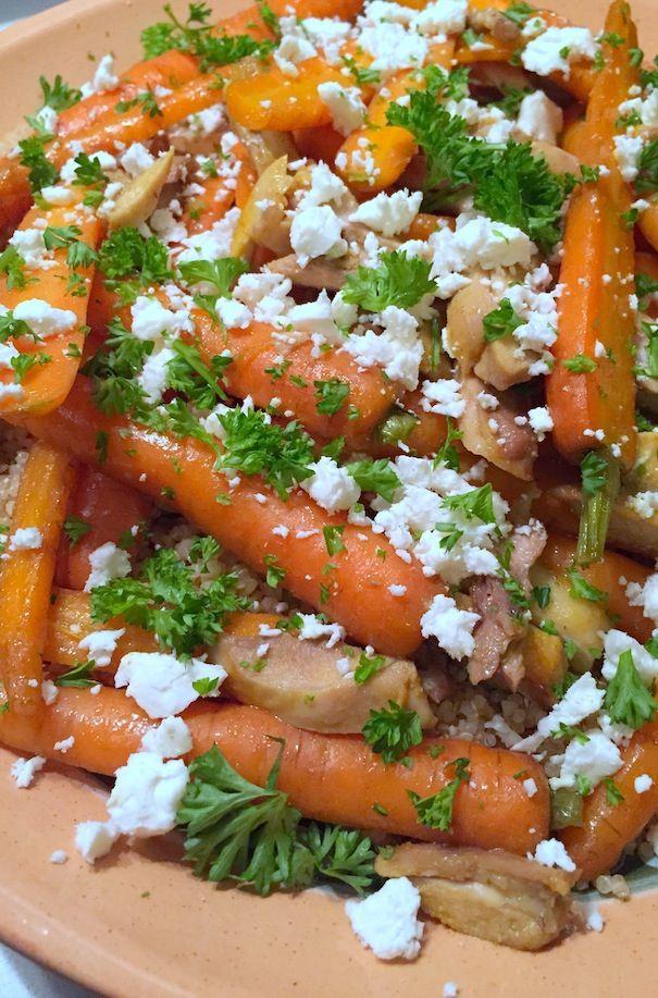 Geroosterde bospeen met kip, bulgur en feta - Francesca Kookt