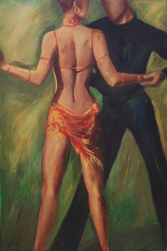 Dance Art Print , Tango Dancers, Cha,Cha Dancers, Back of a Dancer in Orange and Gold Dress ,12X18 Print, Gift under 50.