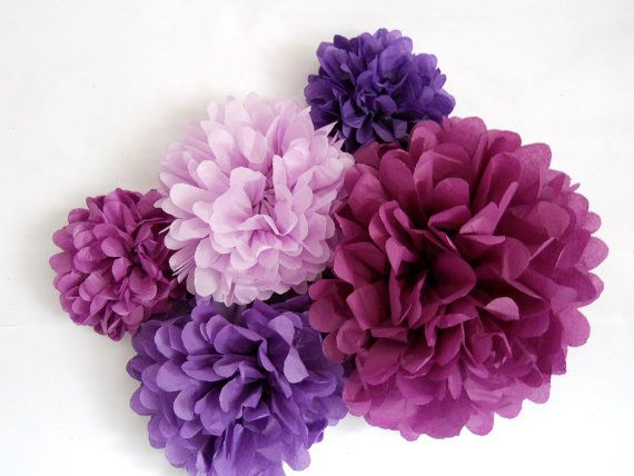 5 Tissue Paper Poms  in Purple Party - Sophia the First Birthday Party Inspiration
