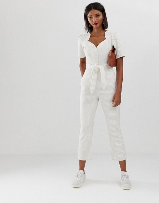 38b462cebb DESIGN denim sweetheart neck puff sleeve jumpsuit in stripe in 2019 ...