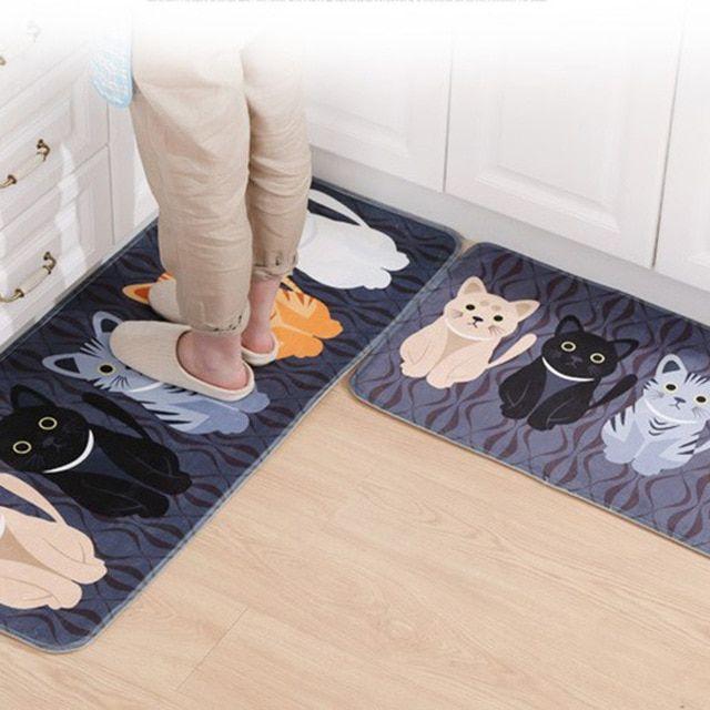 Cartoon Cat Print Non Slip Bath Mat Corners Anti Skid Bathroom Rugs