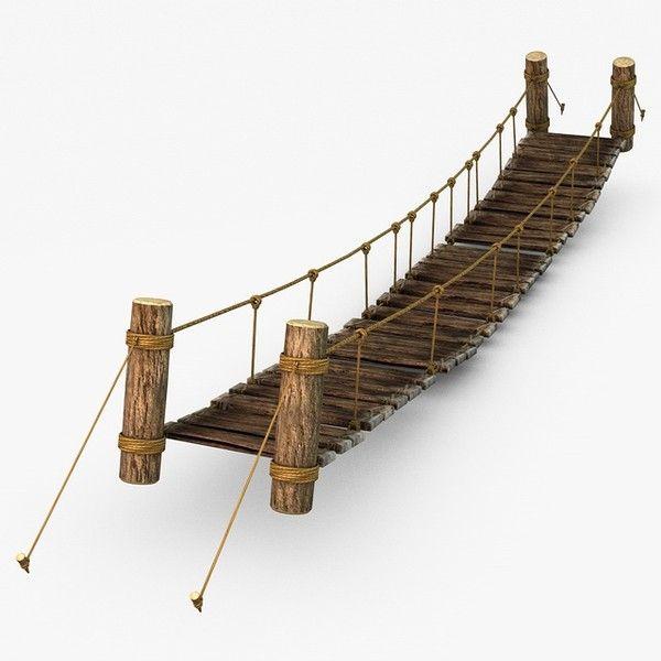 3d rope bridge model rope amp wood plank suspension bridge