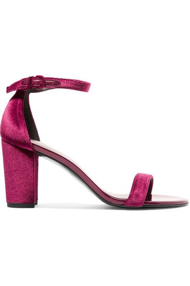 Heel measures approximately 80mm/ 3.5 inches Claret velvet and patent-leather Buckle-fastening ankle strap Made in Spain
