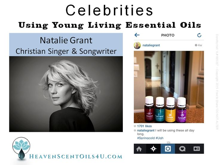 Natalie Grant... Christian singer/songwriter using Young Living essential oils