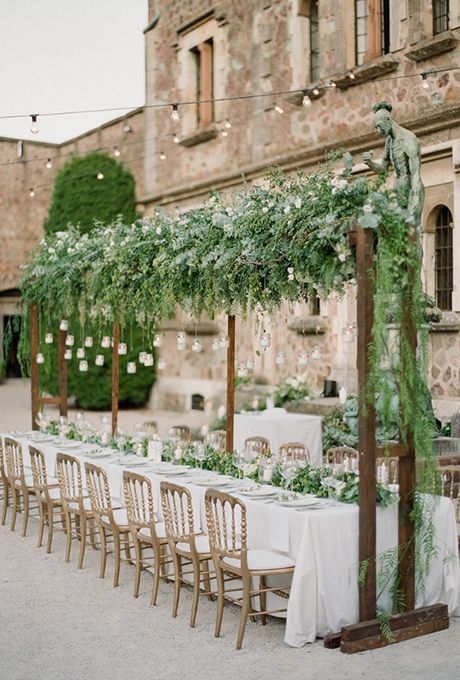 Wedding Reception Arbor with Hanging Greenery. Take your wedding reception to new heights by hanging d�cor from the ceilings and rafters. Suspended wedding installations add some serious wow factor to your reception, but instead of flowers, we love it when couples opt for fresh greenery %u2014 pretty garlands, delicate vines, and leafy branches.