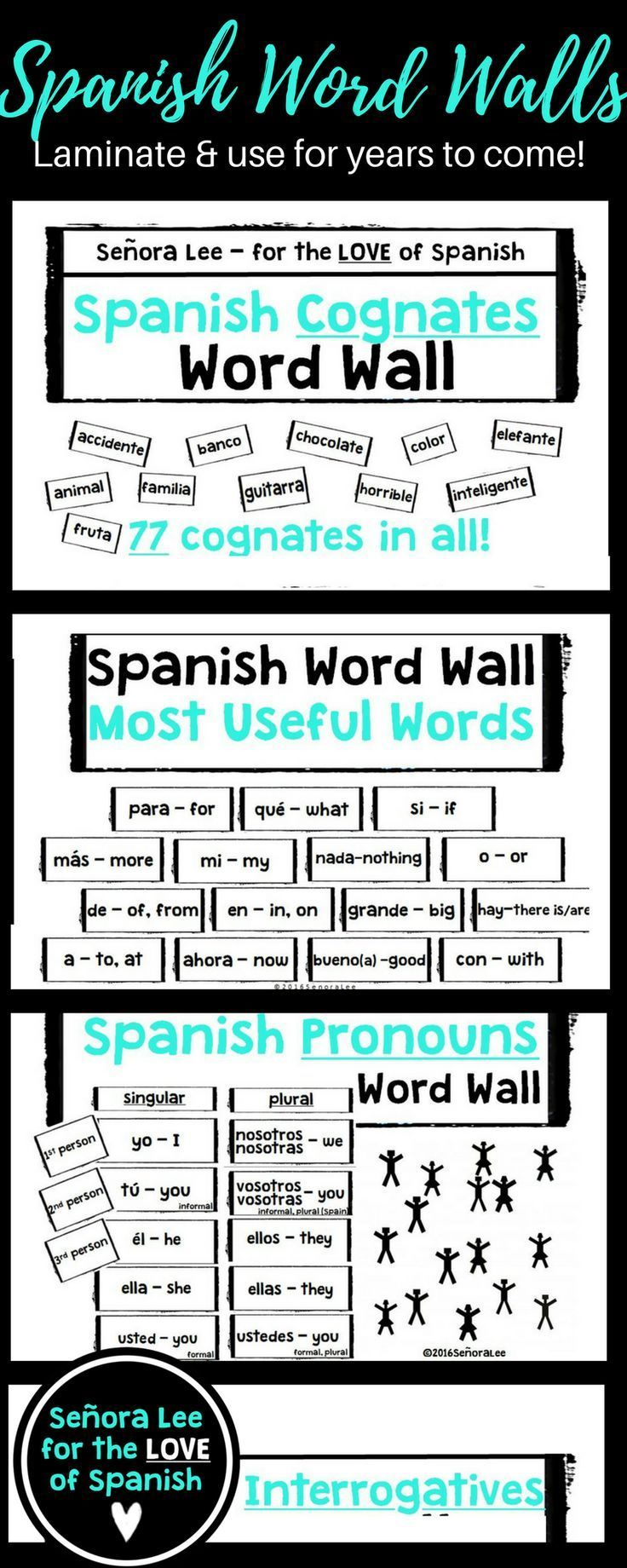 "Includes 4 Spanish word walls. Big & bold, black & white bricks with essential Spanish vocab. Easy to read. Great visual resource to continually reinforce vocab.  What teachers are saying:  ""I am super excited to put up my word walls!"""