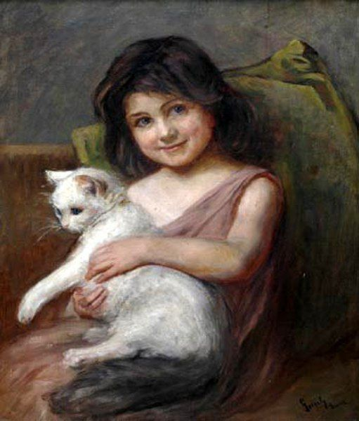 Imre Gergely (1868 – 1914, Hungarian) - Girl with a cat