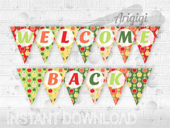 #classroom #banner says #WELCOME #BACK printable party by ArigigiPixel