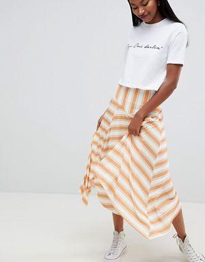 ASOS DESIGN yellow stripe hanky hem midi skirt