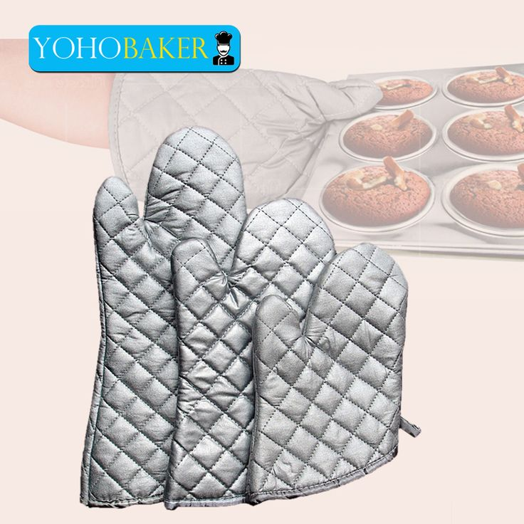 Silver Oven Mitts Heat Insulation Gloves High-quality Cotton Fabric Grid Design Excellent Heat Resistance Glove For Kitchen Use