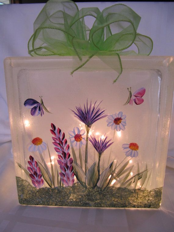 Handpainted wildflower lighted glass block from Etsy